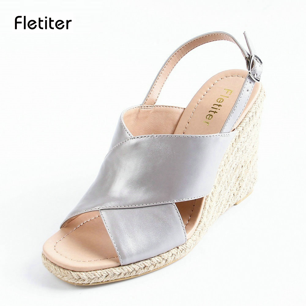 Fletiter 2018 New Women Summer Silver platform shoes espadrille shoes for women supper high heel wedge elegant Women sandals<br>
