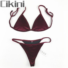 Velvet Bikini Set 2017 Women Swimsuit Monokini Bodysuit Swimming Suit Bathing Suits Swim Halter Thong Beach Swimwear Cikini(China)