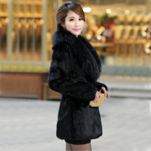 Winter women fashion elegant fox fur collar Faux mink  coats Slim long plush jackets Black high-end luxurious leather overcoats