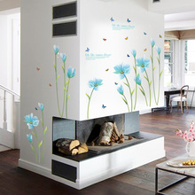 3D Blue Lily Flower Sticker Mural dly  Living Room Bedroom Sofa Background Wall art Home Decoration Wall Decals
