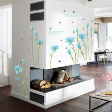3D Blue Lily Flower Sticker Mural dly Living Room Bedroom Sofa Background Wall art Home Decoration Wall Decals(China)
