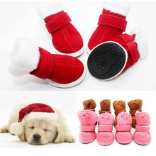 Cute Fashion Dog Pets Cotton Winter Shoes Creative Warm Non-slip Outdoor Snow Boots Cat Pets Walking Paws Protective Soft Boots(China)