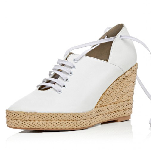 Full Grain Leather Rome Style 2017 Women Fashion Lace-Cross Pointed Toe Platform Wedges Suede Pumps Lady Party shoes for womne<br><br>Aliexpress