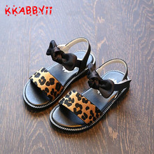 Buy Girls Sandals 2018 New Summer Fashion Leopard Bowtie Kids Sandals Children Princess Flat Shoes Beach Sandals Girls EU 21-36 for $6.99 in AliExpress store