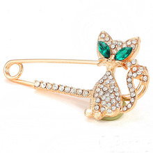 LNRRABC Fashion Women Gold Silver Color Rhinestone Crystal Green-eyes Cat Brooch lapel Pin Gift broches para as mulheres