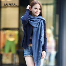 LASPERAL Hot Autumn Winter Spring Woman Fashion Scarves Pretty Solid Color Hollow Nail Bead Scarves Warm Thicken Shawl Scarf