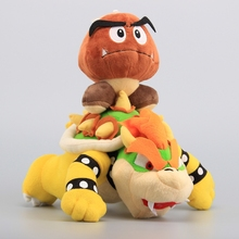"2 Pcs/Lot Super Mario Plush Toys 10"" Koopa Bowser Dragon & Mushroom Goomba 14 cm Stuffed Dolls Children Toys"