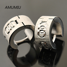 AMUMIU 2017 Fashion Jewelry,male Earrings For men,Stainless Steel Earrings Round Circle Style Silver Color HE016