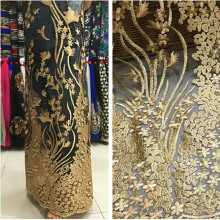 High-grade gold thread yarn / lace embroidery peacock fabric / Phoenix tail clothing fabric / dress skirt fabric / evening dress