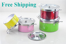 Free shipping Hot Selling Colorful 8PC Of Color Coating Stainless Steel Cookware Set With Capsule Bottom For Induction Cooker