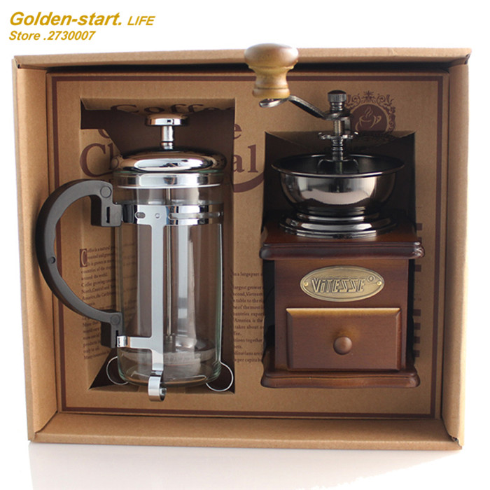 New arrival household Manual Coffee equipment coffee grinder + coffee pot  Coffee Grinder Machine free shipping<br>