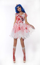 Maclover Free Shipping Cool Lady Easter Dress Costume White Dress With Blood Design For Cosplay