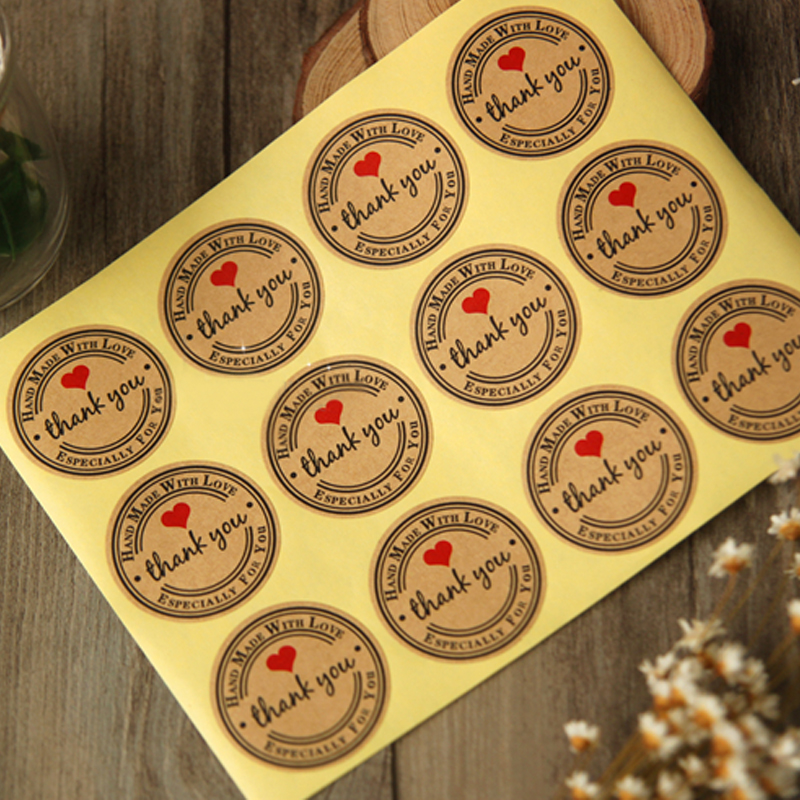 10-Sheets-120-PCS-3-5CM-Thank-You-Love-Red-Heart-Self-adhesive-Stickers-Kraft-Labels