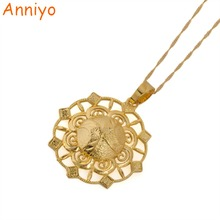 Anniyo New Design Gold Color Pendant & Necklace for Arab Women's Ethiopian Jewelry Charms Gifts African Trendy Items #072206(China)