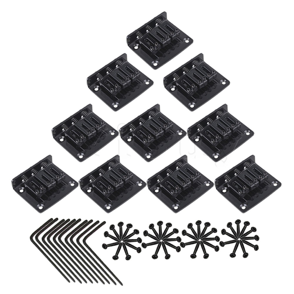 Yibuy 10 x Zinc Alloy 3 String Electric Cigar Box Guitar Bridge Tailpiece Black<br>