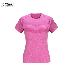 2017 Outdoor T shirt Quick Dry T-shirt Ladies Gym Running Top Sport Shirts Dry Fit Woman Fishing Clothing Workout Camping(China)
