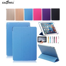 Fold Leather Cover Case For New Apple iPad 2017 9.7 inch Tablet PC Translucent Smart Stand Case  Free screen protector+stylus