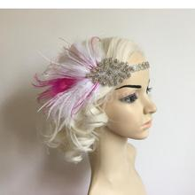 Fashion Handmade Fancy Dress Fascinator Pink White Feather Sparkly Ribbon Great Gatsby Headband Band 1920s