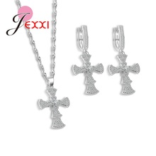 JEXXI Fine Jewelry Sets New Fashion Crystal Lovely Cross Flower Type Necklace Earring Jewellery Set For Women Best Gifts(China)