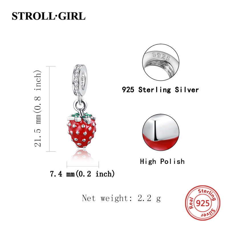 925 Sterling silver Fruit Strawberry Red enamel charms with cz Stone Fit European Bracelet Pendant bead Jewelry Making for Gifts