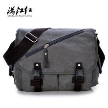Hot Sale MANJIANGHONG Fashion Canvas Men's Handbags Wear Resistant Messenger Bags For Men Simple Casual Small Square Bag M108