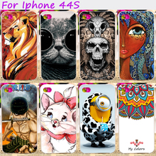 TAOYUNXI Hard Plastic Cool Skull Cute Animal Phone Cases For Apple iPhone 4 4G 4S 44S iphone44s 3.5 inch Phone Cover Hood(China)