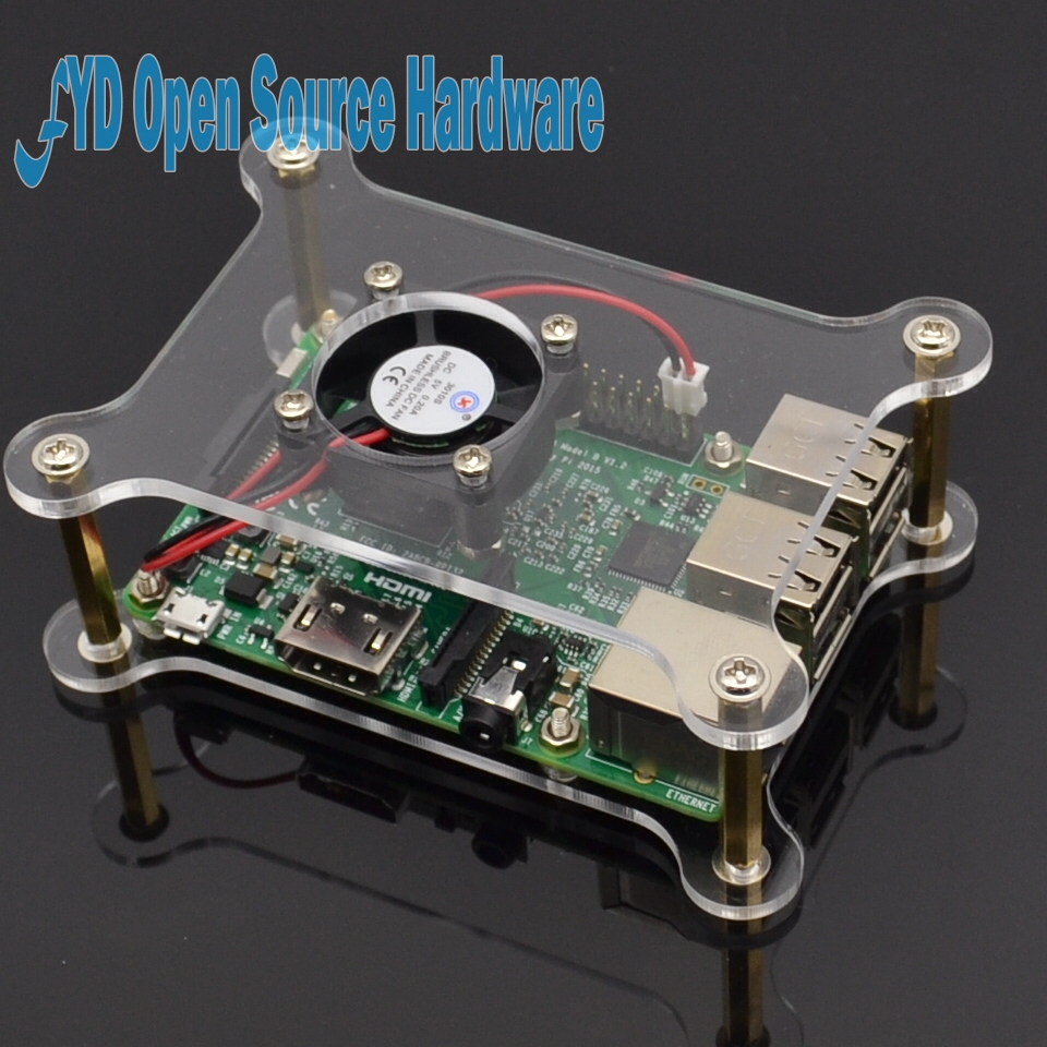 2-layer Transparent Acrylic Case Clear Raspberry Pi 3 Box Shell with Logo for Raspberry Pi 2 Model B & Raspberry Pi B Plus