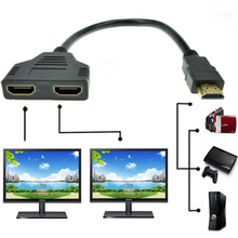 Hot HDMI 1 Male To Dual HDMI 2 Female Y Splitter Cable Adapter HD LED LCD TV 30cm HDMI Male To Female Splitter Cables(China)