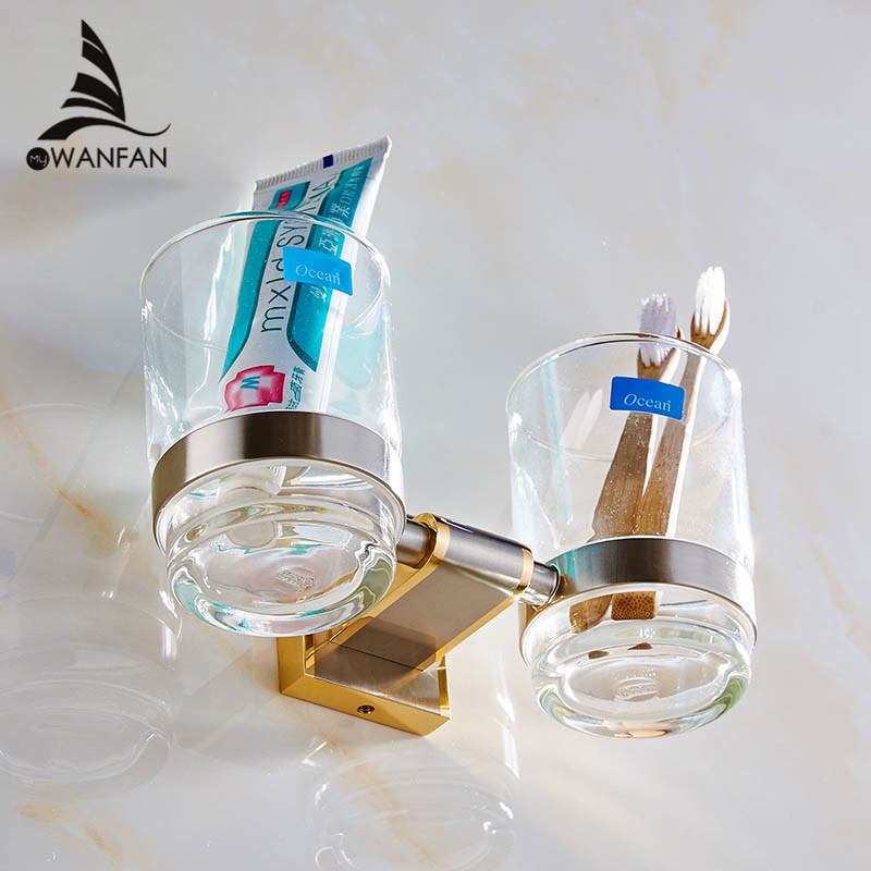 Fashion style Double Tumbler Holder,Toothbrush Cup Holder, Brass Base with Gold finish+Glass Cup,Bathroom Accessories 1603<br><br>Aliexpress
