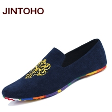 JINTOHO fashion suede men shoes soft leather flat shoes casual slip on moccasins men loafers hight quality driving flats(China)