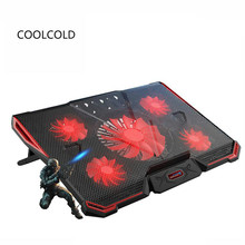CoolCold Laptop Cooling Pad Air-cooled 5 Fans 2 USB Ports Adjustable Holder for 12 15 17 inch Laptop PC Notebook Cooler(China)