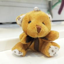 New sale 30pcs/lot Promotion gifts 6CM bow tie brown teddy bear mini joint plush keychain bear bouquet toy/phone pendant
