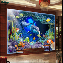 beibehang Large Custom 3D Underwater World Dolphin Mother and Child Love Deep Backdrop Wall