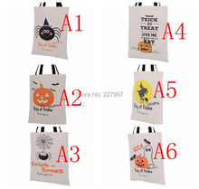 100pcs 2016 New Halloween Bag with Black Handle 6 color for Women Girl Pumpkin Shopping Tote Bags Festival Gifts Bag 36X48CM