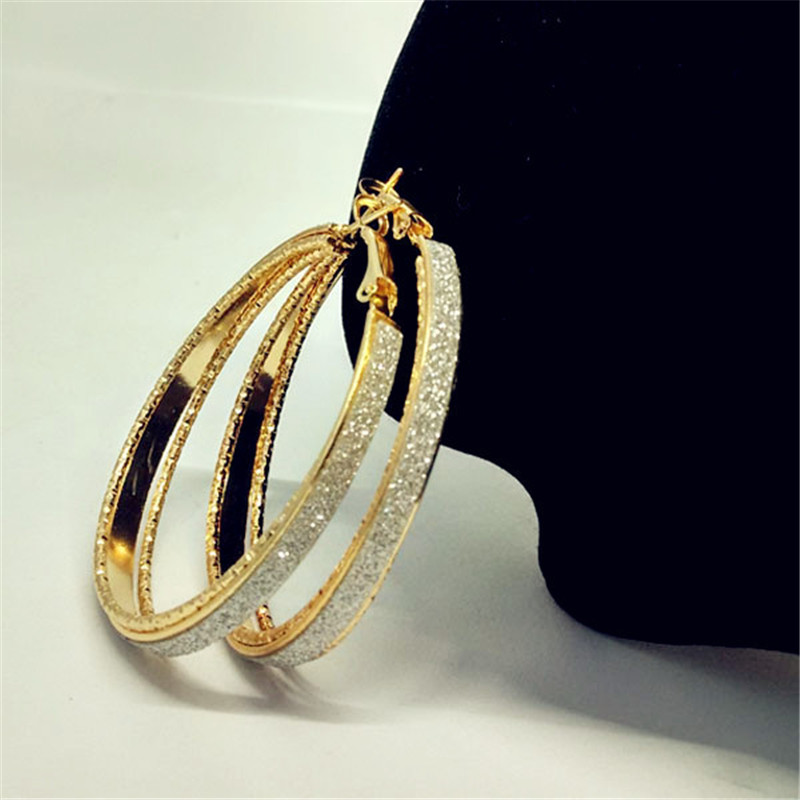 Luxury-Gold-Silver-Color-Frosted-Earring-Jewelry-Round-Big-Hoop-Earrings-For-Women-Fashion-Accessories-Party