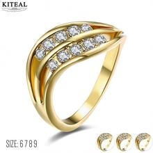 KITEAL exo Gold color Yellow/White/Rose Yellow color White size 6 7 8 9 female rings simple zircon opal men jewelry(China)