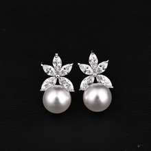 White Red Pearl Stud Earrings For Women Silver Rose Gold Color Earring With Shining CZ Fashion Jewelry For Girl Gift