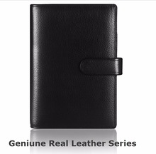 A4 B5 A5 A6 A7 file folder manager document bag hasp belt tape top layer leather conference folder with spiral binder 2 styles