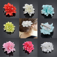 Chic 12 color Bridal Flower Crystal Hair Clip Beauty Hairpins Barrette Wedding Decoration Hair Accessories Beach Hairwear Party