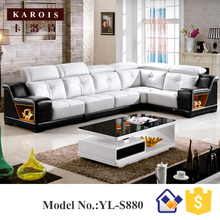 U Shape Black match white Genuine Sectional Leather Sofa set China leader living room supplier S3193(China)