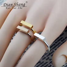 DIANSHANGKAITUOZHE Panic Buying Solid Form Cross Bar Wedding Rings For Women Men Stainless Steel Cuboid Jewellery Contracted(China)