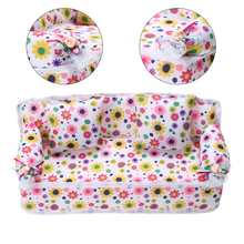 Mini Dollhouse Furniture Flower Cloth Sofa Couch With 2 Full Cushions For Barbie Doll House Toys Hot Selling 2017