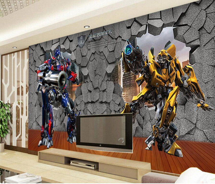 Custom 3D murals wallpaper,3D deformable robot papel de parede, living room sofa TV wall 3d wallpaper for kids room<br>