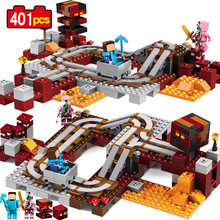 MY WORLD Hell infernal train Steve Zombie pig Compatible Legoe Figures Minecraft Building Block Bricks children toys gifts(China)