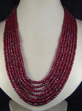 "beautiful NEW 2x4mm RED BEAD NECKLACE 7 ROW 17-23""(China)"