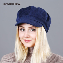 Women's Beret Hat New Arrivals Octagonal Hats For Women Fashion Corduroy Vintage Boina Autumn Winter Newsboy Caps(China)