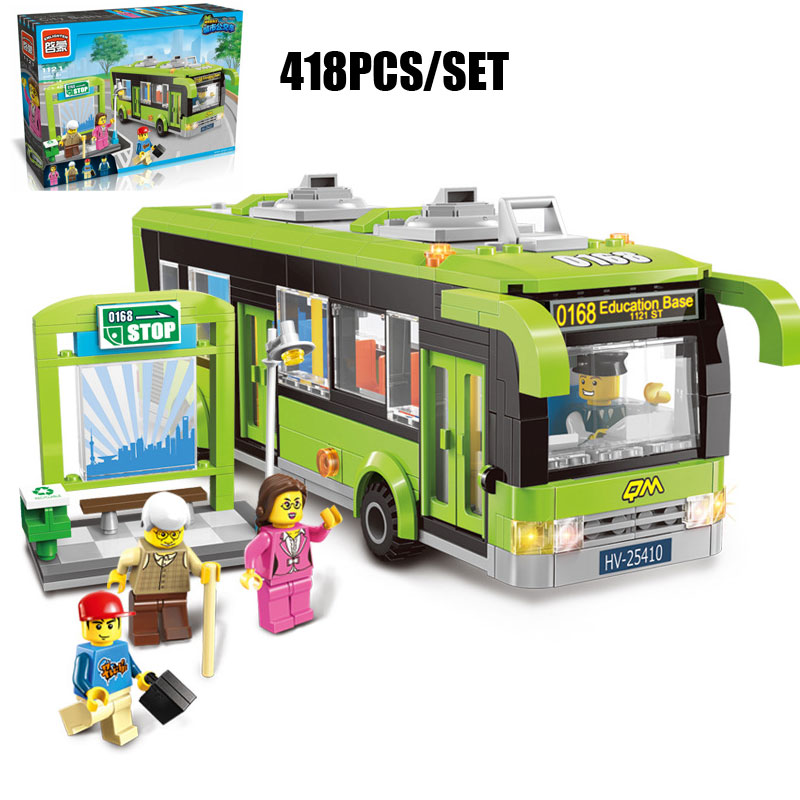 418PCS City Bus Station Bus Vehicle Model Building Blocks Traffic Police Passagers Driver Figures Brick Educational Kids Toys<br>