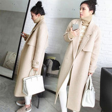DoreenBow Autumn Winter Women Long Wool Blend Pockets Single Button Sashes Long Sleeve Fashion Style Outwear Coat, 1 Piece