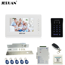 JERUAN 7 inch LCD video doorphone intercom system Kit New RFID waterproof Touch Key password keypad Camera Electric mortise lock
