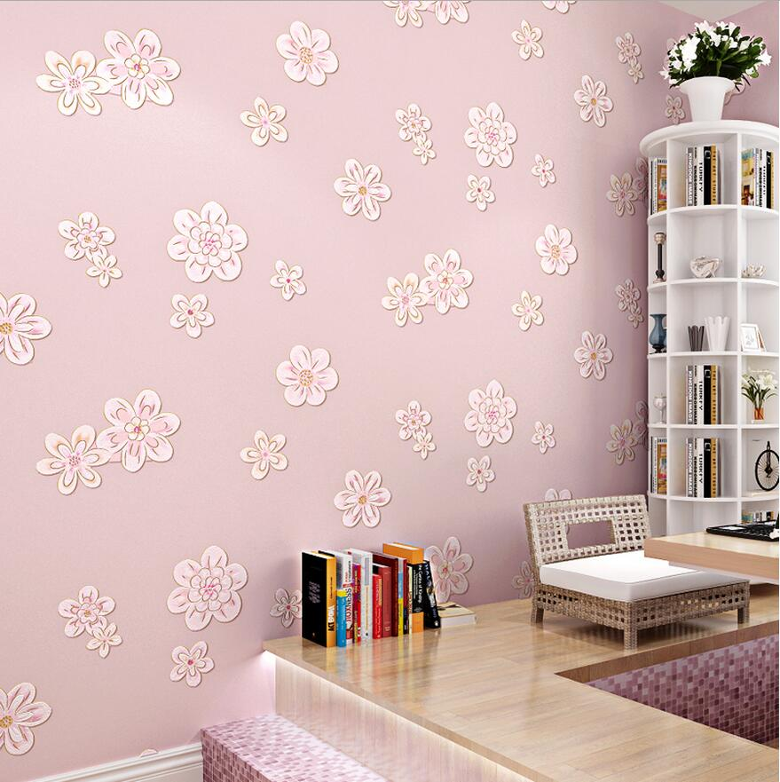 Embossed new arrive village rustic wallpaper non-woven wallpaper child real touch small flower<br>
